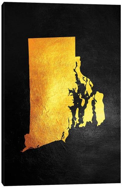 Rhode Island Gold Map Canvas Art Print