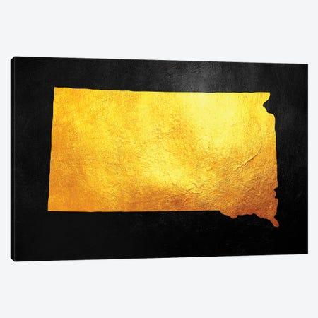 South Dakota Gold Map Canvas Print #ABV1091} by Adrian Baldovino Canvas Art