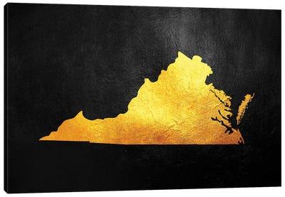 Virginia Gold Map Canvas Art Print