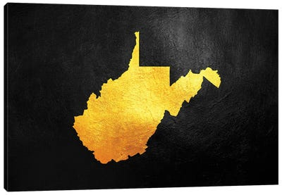 West Virginia Gold Map Canvas Art Print