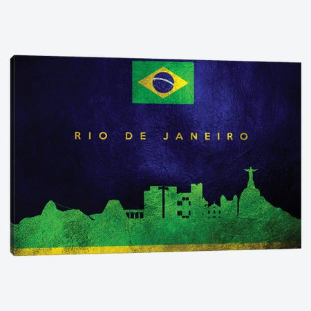 Rio De Janeiro Brazil Skyline Canvas Print #ABV109} by Adrian Baldovino Canvas Wall Art