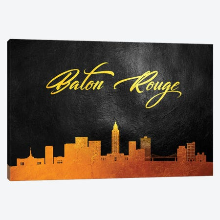 Baton Rouge Louisiana Gold Skyline Canvas Print #ABV10} by Adrian Baldovino Art Print