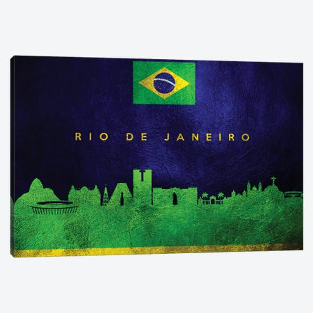 Rio De Janeiro Brazil Skyline II Canvas Print #ABV110} by Adrian Baldovino Art Print