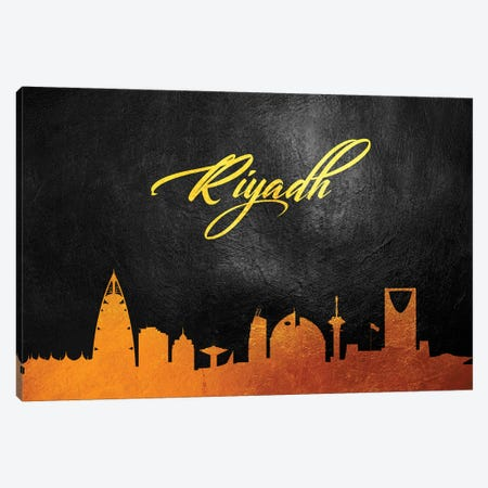 Riyadh Saudi Arabia Gold Skyline Canvas Print #ABV111} by Adrian Baldovino Art Print