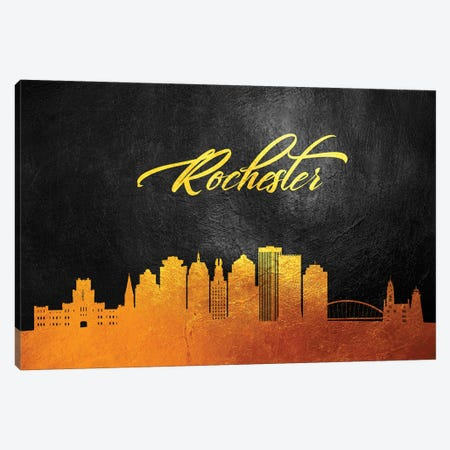 Rochester New York Gold Skyline Canvas Print #ABV112} by Adrian Baldovino Canvas Art Print