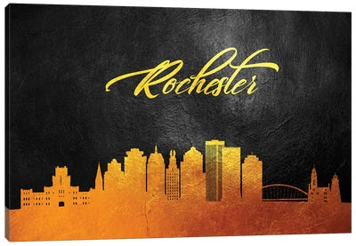 Rochester New York Gold Skyline Canvas Art Print
