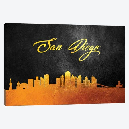 San Diego California Gold Skyline Canvas Print #ABV116} by Adrian Baldovino Canvas Wall Art