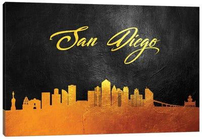 San Diego California Gold Skyline Canvas Art Print