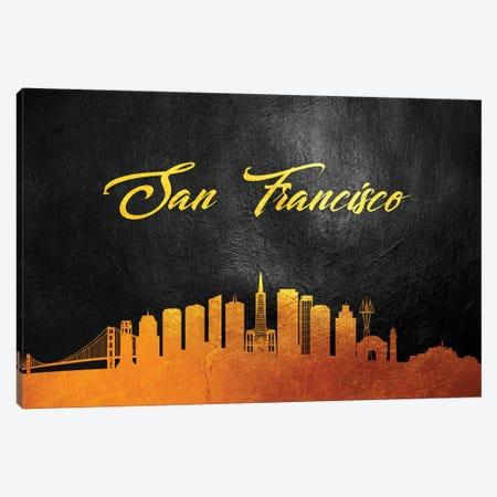 San Francisco California Gold Skyline Canvas Print #ABV117} by Adrian Baldovino Canvas Art