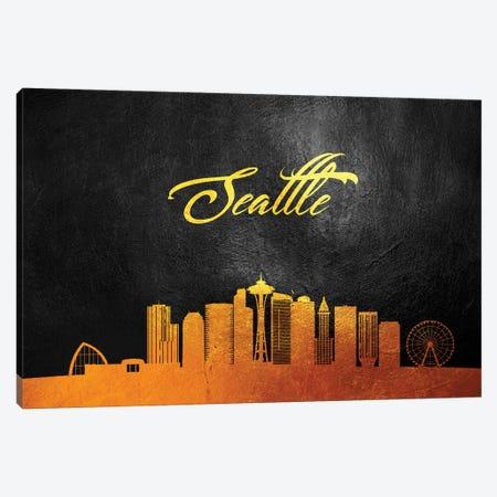 Seattle Washington Gold Skyline Canvas Print #ABV118} by Adrian Baldovino Canvas Art Print