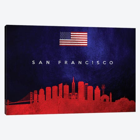 San Francisco California Skyline Canvas Print #ABV119} by Adrian Baldovino Canvas Art Print