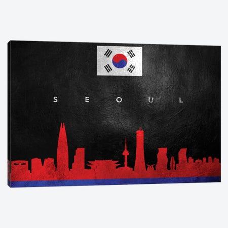 Seoul South Korea Skyline Canvas Print #ABV121} by Adrian Baldovino Canvas Artwork
