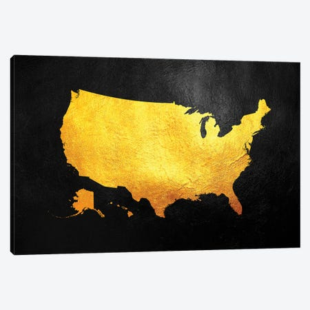 United States Of America Gold Map Canvas Print #ABV1223} by Adrian Baldovino Canvas Print