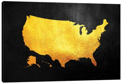 United States Of America Gold Map Canvas Art Print