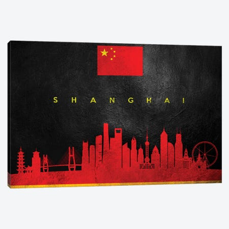 Shanghai China Skyline Canvas Print #ABV122} by Adrian Baldovino Canvas Wall Art