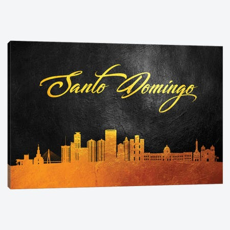 Santo Domingo Dominican Republic Gold Skyline Canvas Print #ABV123} by Adrian Baldovino Canvas Artwork