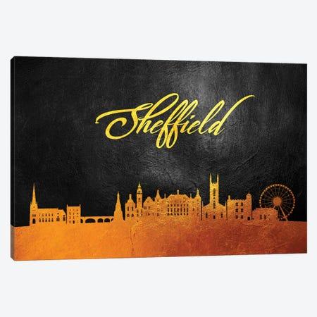 Sheffield England Gold Skyline Canvas Print #ABV124} by Adrian Baldovino Canvas Art Print