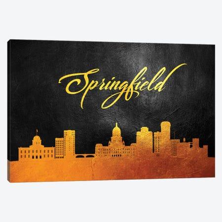Springfield Illinois Gold Skyline Canvas Print #ABV125} by Adrian Baldovino Canvas Art Print