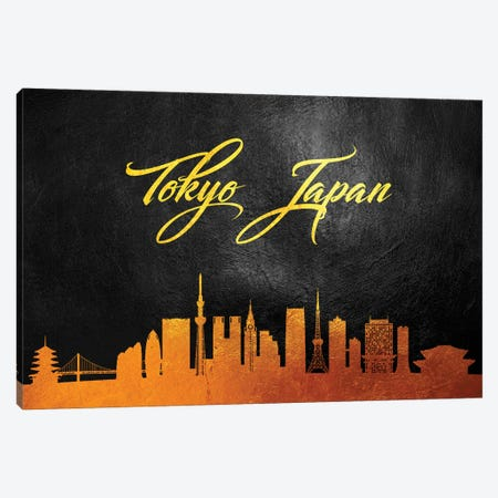 Tokyo Japan Gold Skyline Canvas Print #ABV126} by Adrian Baldovino Canvas Art Print