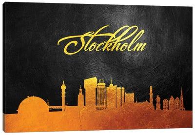 Stockholm Sweden Gold Skyline Canvas Art Print