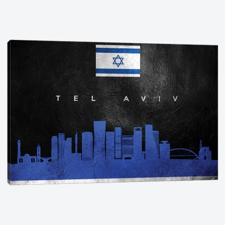 Tel Aviv Israel Skyline 3-Piece Canvas #ABV130} by Adrian Baldovino Art Print