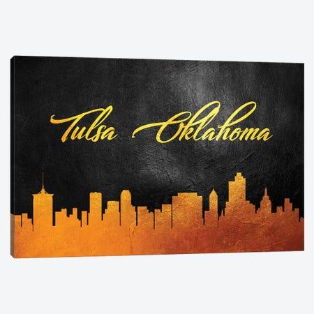 Tulsa Oklahoma Gold Skyline Canvas Print #ABV131} by Adrian Baldovino Canvas Art Print