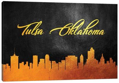 Tulsa Oklahoma Gold Skyline Canvas Art Print