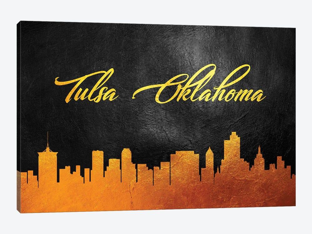 Tulsa Oklahoma Gold Skyline by Adrian Baldovino 1-piece Canvas Art Print