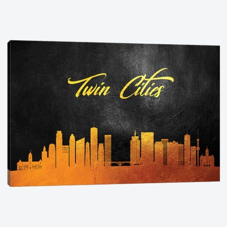 Twin Cities Minnesota Gold Skyline Canvas Print #ABV132} by Adrian Baldovino Canvas Art Print
