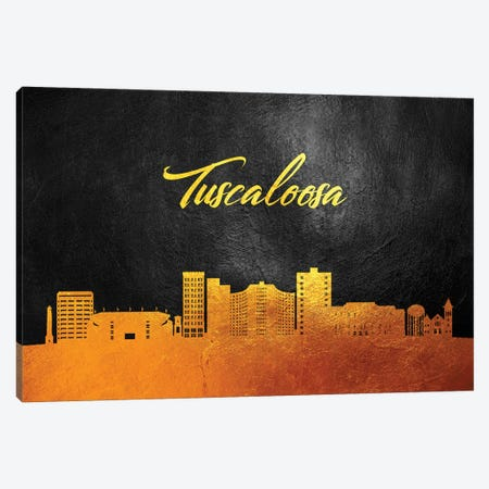Tuscaloosa Alabama Gold Skyline Canvas Print #ABV135} by Adrian Baldovino Canvas Wall Art