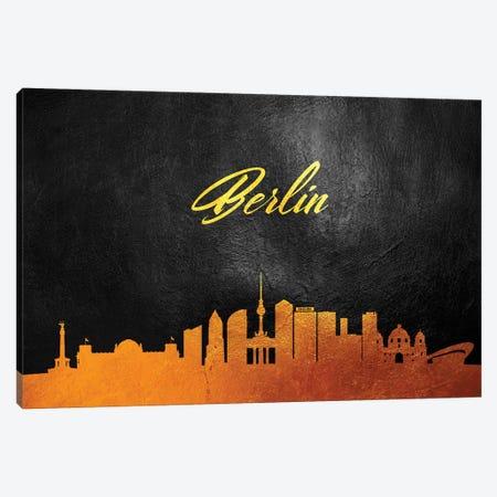 Berlin Germany Gold Skyline 3-Piece Canvas #ABV13} by Adrian Baldovino Canvas Art Print