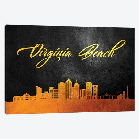 Virginia Beach Skyline Canvas Print #ABV140} by Adrian Baldovino Canvas Art