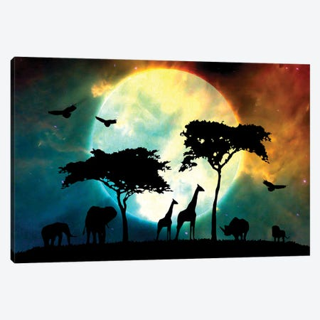 Midnight Safari Canvas Print #ABV149} by Adrian Baldovino Canvas Artwork