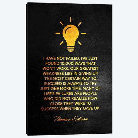 Thomas Edison Motivational Quote 3-Piece Canvas #ABV151} by Adrian Baldovino Canvas Print
