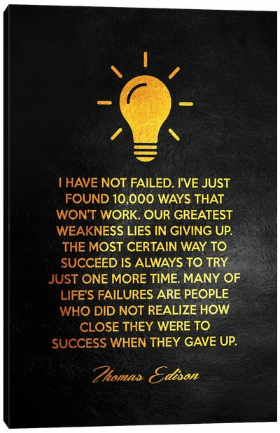 Thomas Edison Motivational Quote Canvas Art Print
