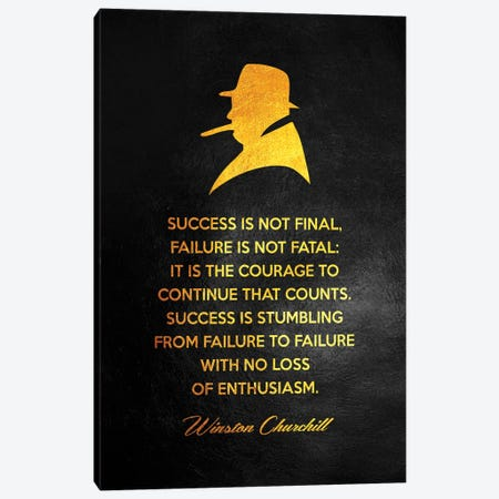 Winston Churchill Motivational Quote Canvas Print #ABV152} by Adrian Baldovino Canvas Art Print