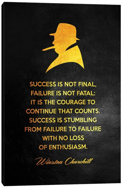 Winston Churchill Motivational Quote Canvas Art Print
