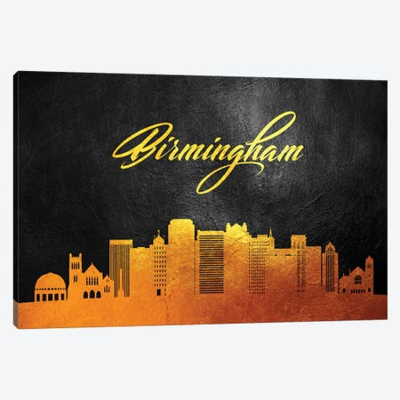 Birmingham Alabama Gold Skyline Canvas Print #ABV15} by Adrian Baldovino Canvas Wall Art