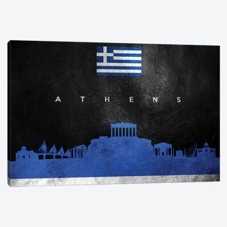 Athens Greece Skyline Canvas Print #ABV160} by Adrian Baldovino Canvas Art