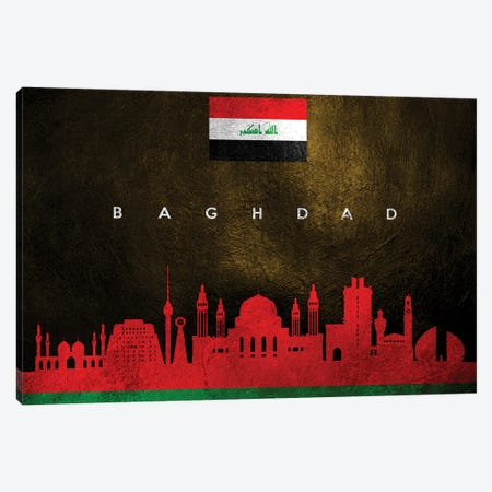 Baghdad Iraq Skyline Canvas Print #ABV162} by Adrian Baldovino Canvas Wall Art