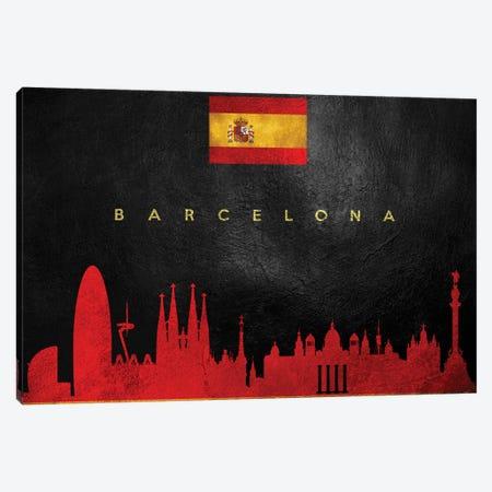 Barcelona Spain Skyline Canvas Print #ABV168} by Adrian Baldovino Canvas Artwork