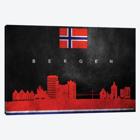 Bergen Norway Skyline Canvas Print #ABV175} by Adrian Baldovino Canvas Wall Art