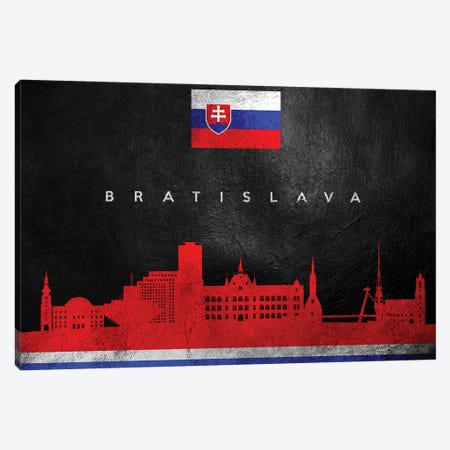 Bratislava Slovakia Skyline Canvas Print #ABV181} by Adrian Baldovino Canvas Artwork