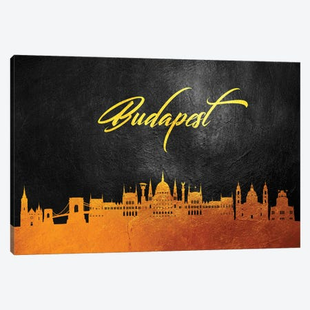 Budapest Hungary Gold Skyline 3-Piece Canvas #ABV18} by Adrian Baldovino Art Print