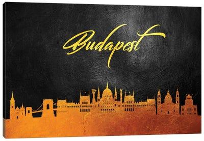 Budapest Hungary Gold Skyline Canvas Art Print