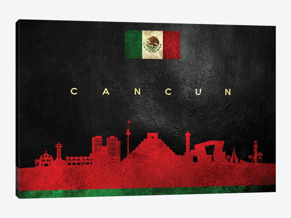 Cancun Mexico Skyline by Adrian Baldovino 1-piece Canvas Wall Art