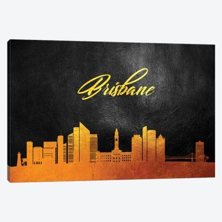 Brisbane Australia Gold Skyline Canvas Print #ABV19} by Adrian Baldovino Art Print