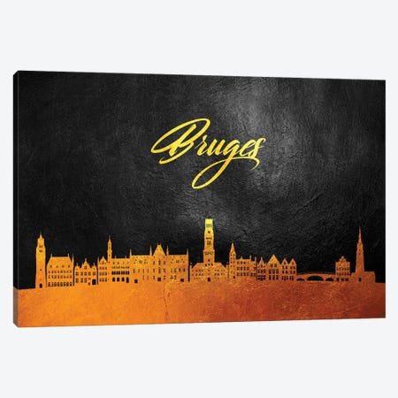 Bruges Belgium Gold Skyline 3-Piece Canvas #ABV20} by Adrian Baldovino Canvas Artwork