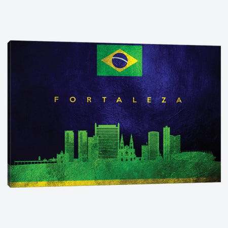 Fortaleza Brazil Skyline Canvas Print #ABV212} by Adrian Baldovino Canvas Wall Art
