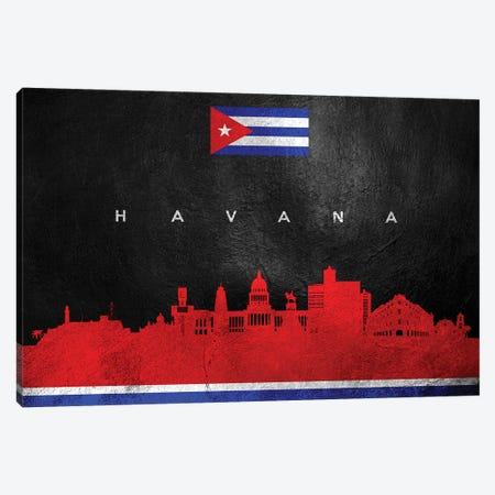 Havana Cuba Skyline Canvas Print #ABV224} by Adrian Baldovino Canvas Artwork
